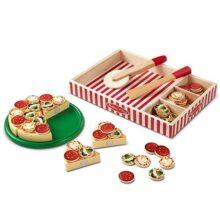 Melissa & Doug ¡Fiesta de Pizza! Trozos de Pizza y Ingredientes con Pestañas Autoadhesivas, Alimentos de Juguete, Juguete de Madera, Juego de Imitación (Más de 54 Piezas)