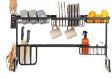 BALIBETOV Over The Sink Dish Rack - sobre el fregadero estante de secado de platos organizador de cocina – mejor organizador de cocina estante de secado de platos y estante de almacenamiento de cocina con cesta colgante de frutas – 33.5 pulgadas de largo, fregadero debe ser ≤ 32 pulgadas. (Negro)