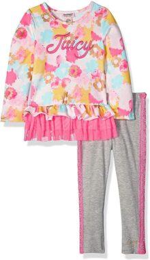Juicy Couture - Juego de 2 Leggings para niña, Print/Gray, 3 Años