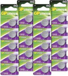 GP Batteries CR2032 3V - Pack de 20 pilas CR 2032 de litio botón