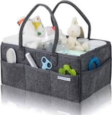 Babysense Care - Organizador de pañales para bebé (tamaño grande), Gris oscuro con interior de algodón.
