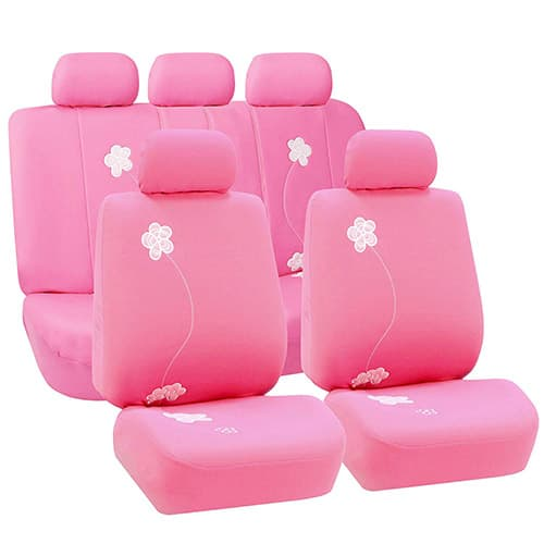 FH GROUP Universal Fit Full Set Floral Embroidery Design Car Seat Cover, (Pink) (FH-FB053115, Airbag Compatible and Split Bench, Fit Most Car, Truck, SUV, or Van)