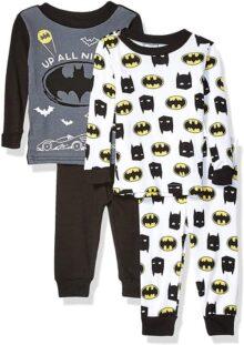 DC Comics Juego de Pijama de algodón de 4 Piezas de Batman Juego de Pijama para Niños