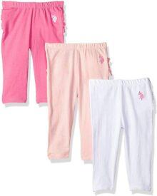 U.S. Polo Assn. Mallas de Spandex para bebé para niñas, 3 Unidades