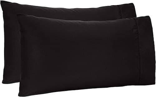 AmazonBasics - Fundas de almohada de microfibra, Negro, Estándar, 1