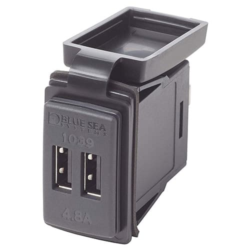 Blue Sea Systems Fast Charge 4.8A Dual USB Charger Switch Mount, 12V/24V