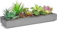 Arreglo De Planta Suculenta Artificial De Color Mixto en una moderna maceta de cemento gris de 40 centímetros