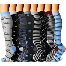 CHARMKING - Calcetines de compresión para mujeres y hombres, 8 pares de 15-20 mmHg es el mejor atletismo graduado, correr, vuelo, viajes, enfermeras