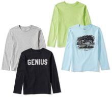 Spotted Zebra Paquete de 4 Camisetas de Manga Larga. Camiseta para Niños
