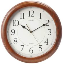 Seiko - Reloj de pared silencioso (madera de roble maciza), color café oscuro