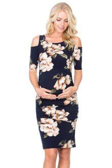 My Bump Vestido de Maternidad Ajustado con Hombros Descubiertos para Mujer