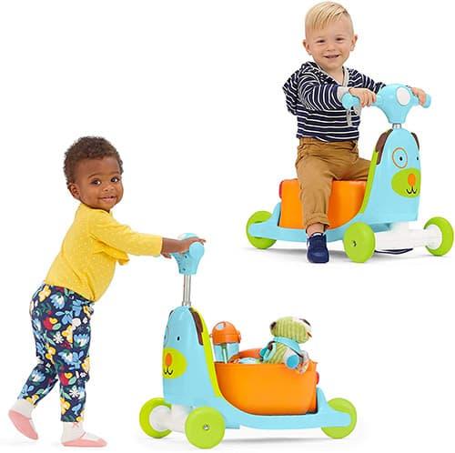 Skip Hop Carrito montable juguete 3 en 1 para niños, carrito, patinete y vagón, Perrito