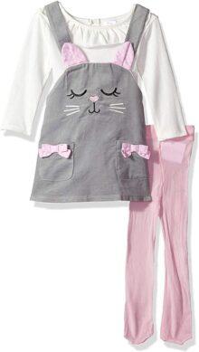 Youngland - Conjunto de 3 Piezas para bebé o niña, Vestido de Pana para la Cara, Overol y Mallas