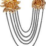 AN KINGPiiN Pin de Solapa para Hombre, Elegante Rosa con Cadena para Colgar, Broche Ejecutivo Formal, Tachuelas para Camisa, Accesorios para Hombre