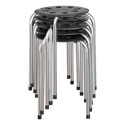 Norwood Commercial Furniture NOR-STOOLBS-SO - Asiento de plástico, Negro/plateado, Paquete de 5