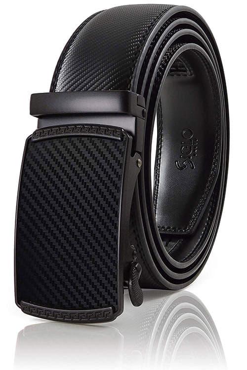 SIGLO® Cinturón para Hombres de Piel con Hebilla Automática y Diseño sin Agujeros, Tamaños 30-44