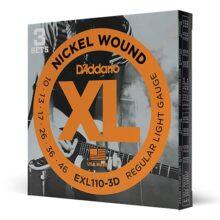 D'Addario Cuerdas para guitarra eléctrica de níquel, Paquete de 3, Regular Light, 10-46