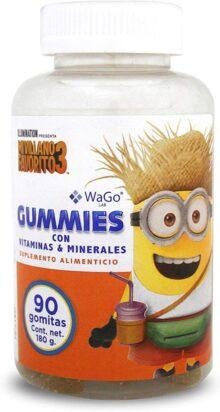 Wago Suplemento Alimenticio Gummies Minions, Sabor Natural, 180 g, 90 Piezas