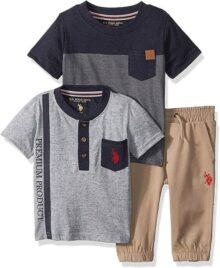 U.S. Polo Assn. Conjunto de Playera de Manga Corta para bebé, Playera Henley y Pantalones para Jogger.