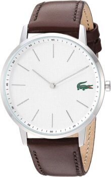 Lacoste 2011002 - Reloj de cuarzo para hombre de acero inoxidable con correa de piel, color café, 20
