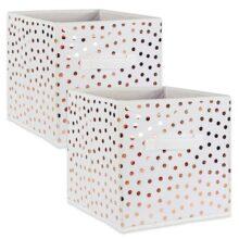 DII plegable cubeta de contenedores de almacenamiento para pequeña de lunares tela Organizadores, Small Cube - Juego de 2, Dots Copper, 1, 1