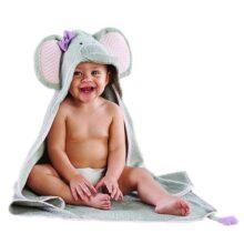 Baby Aspen Splish Splash Elephant Bath Toalla de spa con gorro, color gris