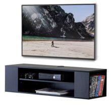 FITUEYES Grano Mesa Flotante para TV Mueble para Audio Video Negro DS210002WB