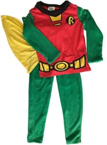 E-Fashion Pijama de Robin, Personaje de Batman, Estilo Disfraz, con Capa, cómodo y Suave para Dormir