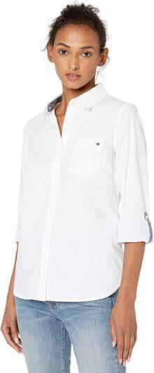 Tommy Hilfiger Camisa con Botones y lengüeta Camisa de Botones para Mujer