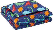 AmazonBasics Juego de edredón, microfibra suave y fácil de lavar, infantil, individual, dinosaurios multicolores