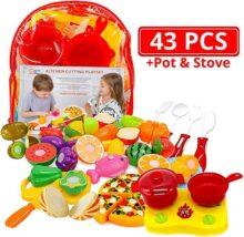 Juguetes de cocina para cortar frutas y vegetales, estufa pequeña, olla y utensilios, 43 piezas, pizza, cuchillo de juguete, tabla de cortar, Bolsa de transporte para comida para niños