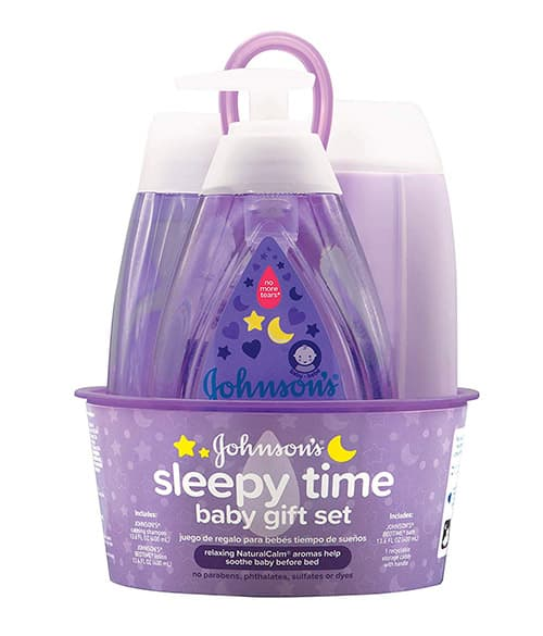 Johnson's Sleepy Time Baby Gift Set with Relaxing NaturalCalm Aromas, Bedtime Essentials, 4 items