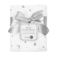 "American Baby Company 100% Cotton Muslin Swaddle Blanket, Gray Stars/Moon, 47"" x 47"""