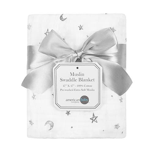 "American Baby Company 100% Cotton Muslin Swaddle Blanket, Gray Stars/Moon, 47"" x 47"""