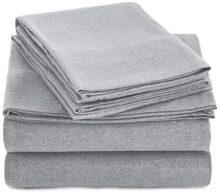 Amazon Basics Juego de sábanas de Jersey Compuesto, Queen, Gris Claro