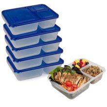 Recipientes de comida para control de porciones (5 unidades) – resistentes, extra duraderos, reutilizables, 3 compartimentos, a prueba de fugas, contenedores de almacenamiento de alimentos Bento Box con medidas y tapas, sin BPA