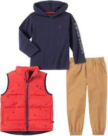 Nautica - Conjunto de Pantalones de Chaleco para bebé (3 Piezas)