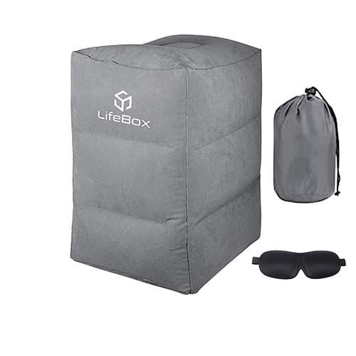 Almohada inflable de viaje para reposapiés con máscara de dormir opaca