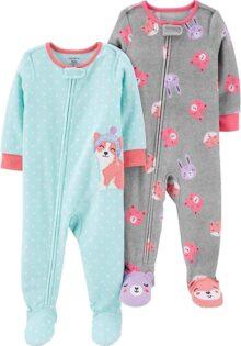 Carter's Pijamas Sueltos de Forro Polar, 2 Unidades Mameluco para Niñas