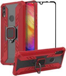 1stfeel Funda para Xiaomi Redmi Note 7 / Note 7 Pro con Soporte de Anillo + Cristal Templado,Funda Silicona Soft Slim Fit + PC Transparente Espalda Carcasas con Soporte Móvil Coche Magnético,Rojo