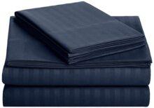 AmazonBasicsJuego de sábanas Deluxe de Microfibra a Rayas, Azul Marino, Individual