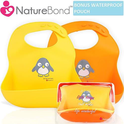 Baberos impermeables de silicona para bebés y niños pequeños, de NatureBond (2 piezas)