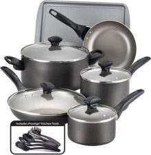 Farberware Juego de 15utensilios de cocina, apto para lavaplatos, Antiadherente, Pewter, 1