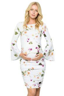 My Bump Vestido de Maternidad con Mangas Acampanadas y Fruncido para Mujer, White Syab, L