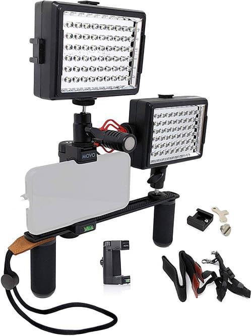 Movo PR2-CREATOR - Aparato de vídeo para smartphone con doble agarre con micrófono y 2 luces LED compatibles con iPhone, Samsung, Android para cine, equipo de YouTube, Vlogging, Livestream, periodismo