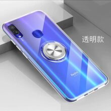 yuehuanyi Slim Fit Transparente Carcasa, 360° Giratorio Metal Anillo Kickstand,con Soporte Magnetic Car Mount Function Funda Case para Xiaomi Redmi Note 7 / Note 7 Pro - Blanco