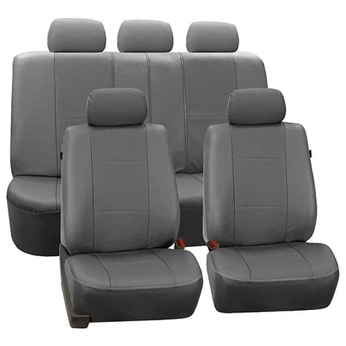 FH GROUP Universal Fit Full Set Deluxe Seat Cover - Leatherette (Gray) (Airbag Compatible and Rear Split, Fit Most Car, Truck, SUV, or Van, FH-PU007115)