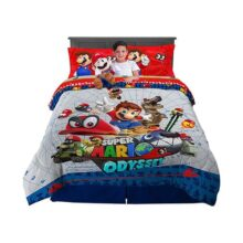 Nintendo Super Mario Odyssey Soft Microfiber Comforter, Sheets and Plush Cuddle Pillow Kids Bedding Set, Full Size 6 Piece Bundle Pack