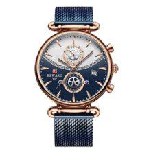 Wyenliz Reloj de hombre original Multifuncional de moda de personalidad negocio de ocio a Estudiante Correa de acero inoxidable prueba de agua reloj de regalo de cuarzo analógico