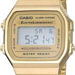 Reloj Vintage Casio Retro Unisex 35mm, pulsera de Acero Inoxidable color Oro